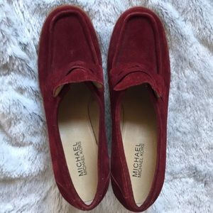 Michael Kors Red Suede/crepe Wedges